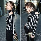 Fashion Lady Long Sleeve Off Shoulder Vintage Striped Casual Tops T-Shirt Blouse
