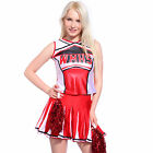 Glee Club Style Cheerios Cheer Girl Costume Adult Cheerleader outfit w/ Pom Poms