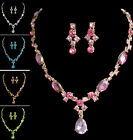 Classic Swarovski Crystal Wedding Bridesmaid Party Earring Necklace Jewelry Sets