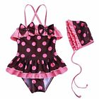 POLKA DOTS Girls Kids One Piece Tutu Skirt Swimsuit Swimwear Bathing Suit SZ 2-6