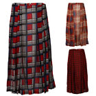 NEW WOMENS PLEATED LADIES SHEER PRINTED CASUAL OVER KNEE MIDI SKIRT SIZE 8-14