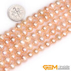 Natural 7-8mm Round Freshwater Pearl Jewelry Making loose gemstone beads 15""