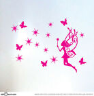 Fab Fairy with Stars Butterfly Medium Set Children Vinyl Wall Sticker Room Decal