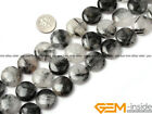Natural Coin Black Rutilated Quartz Beads Jewelry Making Gemstone Loose Beads