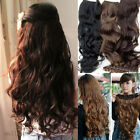 One Piece Long Curly Wavy Hair Extension Clip In Extensions 5 Clips Black Brown