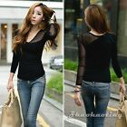 Fashion Women V-Neck Long Sleeve Sheer Mesh Casual Black Ladies Tops Tee T-Shirt