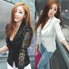 New 2014 Womens OL Lace Crochet Solid Blazer Small Jacket Blouse Tops Coat Suits