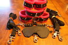 LOCKING 10 pc leather set wrist ankle collar- bed restraint soft fuschia fleece