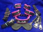 LOCKING 10 pc leather restraint set-any word on collar  wrist cuffs SLAVE custom