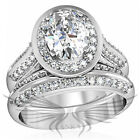 2ct CLASSY OVAL CUT LAB CREATED RUSSIAN SIM DIAMOND ENGAGEMENT RING & BAND 1W163, used for sale  Richardson