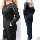 NEW NEXT BLACK LACE TOP LONG SLEEVE BELTED ALL IN ONE JUMPSUIT PLAYSUIT EVENING
