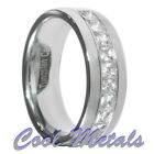 1.3 Carat Tungsten Carbide Princess Cut CZ Men Women Wedding Band Ring Size 7-15