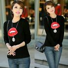 Red Lip PU Leather Pullover Crew Neck Womens Sweater Jumper Knitwear Knit Black