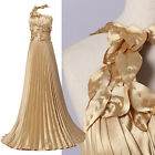 Luxury Gold Pleated Long Wedding Bridal Party Ballgown Mother Evening Prom Dress