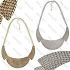 BIG COLLAR WEAVE NECKLACE texture metal BIB chain ANTIQUE GOLD/SILVER PLT choker