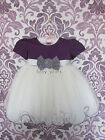 GIRLS IVORY DRESS CADBURY PURPLE BOW BABY WEDDING PARTY FORMAL OCCASION NEW