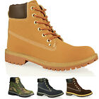 WOMENS LADIES LOW HEEL LACE UP ANKLE FAUX LEATHER BIKER WINTER BOOTS SHOES SIZE