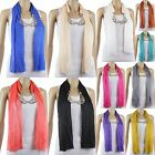 New Women Ladies Solid Fashion Jewelry Charms Pendant Scarf Wrap Necklace Scarf
