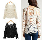 Autumn Women Fashion Long Sleeve Embroidery Floral Lace Crochet Tops T shirt