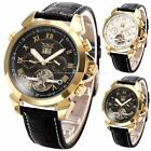 Charming Golden Men's Date Day Self-Winding Mechanical Leather Strap Wrist Watch