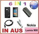 6in1 Accessory Bundle Leather Gel Tpu Case Screen Protector For Nokia Lumia 900