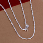 "925sterling Silver Jewelry Flash Wrest Rope Woman Men Necklace 2mm 16""-24"" N226"