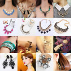 HOT Womens Bib Statement Necklace Bracelet Earrings Jewelry Chunky Collar Party