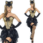 Womens Kitty Burlesque Dancer Costume Leopard Print Animal Fancy Dress Outfit