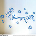 Custom Name & Daisy Vinyl Wall Sticker for Girls Removable Art Decal