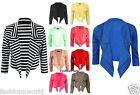 New Womens Ladies Waterfall Style 3/4 Sleeves Crop Blazer Jacket Coat Size 8/14