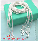 WHOLESALE 1MM 5PCS SOLID SILVER JEWELRY SNAKE CHAINS NECKLACES XMAS925+BOX
