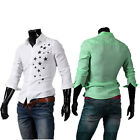 S-XL Mens Dress shirts Hot Casual Slim Long Sleeve 4 colour Fashion Trendy JSPJ