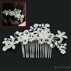 Bridal Wedding Flower Crystal Rhinestones Pearls Diamante Hair Clip Comb Womens