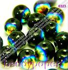 70 - 80 Smooth Round Glass Beads Sparkling Black AB 8 mm Jewellery Making 6323