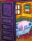 pink PIG bathroom fine art  abstract modern folk 13x19  GIFT GLOSSY PRINT