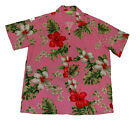 Hawaiian Luau party Rayon Red/White Hibiscus Pink Aloha Men Shirt-S,M,L,XL,2X,3X