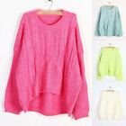 Loose Retro Candy Colors Irregular Hem Long Sleeve Crew Neck Sweater Pullovers
