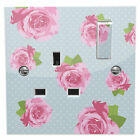 Blue Shabby Chic Pink Roses Power Socket Sticker vinyl skin cover decal floral