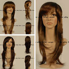 Hot Style Long Dark Brown Straight Wigs For Girl Women Full Lace Capless