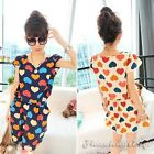 Women Cute Short Sleeve O-Neck Waisted Heart Print Chiffon Lolita Mini Dress New
