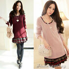 Fashion Women Long Sleeve Patchwork Casual Crew Neck Preppy Style Mini Dress New
