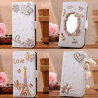 3D bling diamond Luxury Flip Leather card SLOTS Wallet Case Cover for htc one M8