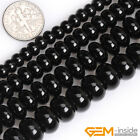 "Natural Black Onyx Agate Rondelle Spacer Beads For Jewelry Making 15"" 4x6mm 10mm"