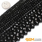 AA Grade Faceted  Rondelle Black Agate Beads Jewelry Making Gemstone Beads 15""