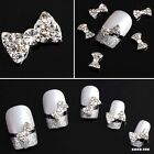 Lot Of 3D Clear Alloy Rhinestone Bow Tie Nail Art Slices DIY Decorations