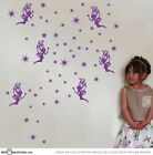 Cute 6 Fairies with stardust 55 stars Vinyl Sticker Wall Art Decal Nursery