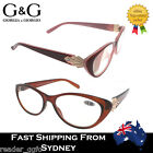 G&G CatEye Ladies Women Magnifying Reading Glasses Brown Red/Pink 1.0 1.5 ~ 3.5