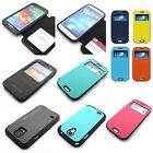 Shockproof armor Flip Bumper Wallet Case Cover w/magnet lock for Galaxy S4/S5