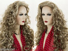 Glamorous, Premium Quality, Long Wavy Curly Blonde Brunette Red Wigs 3/4 Cap