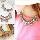 Multicolor Rhinestones Fake Collar Necklace Choker Chunky Statement Bib Necklace
